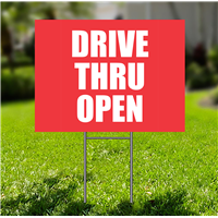 Lawn-Sign - Drive Thru Open